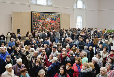 "Audience at the Exhibition of Ilya Glazunov in the Central Exhibition Hall ""Manezh"". St. Petersburg"