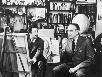 Ilya Glazunov and U.S. Ambassador to Russia Averell Harriman in the Artist`s Studio. Moscow