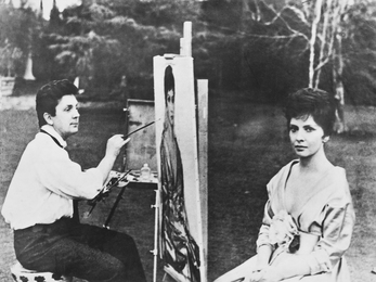 Ilya Glazunov Is Working on the Portrait of Gina Lollobrigida. Rome. Italy
